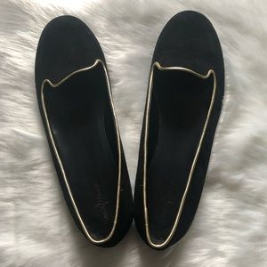 COLE HAAN Black Suede/Gold Trim Ballet Flats